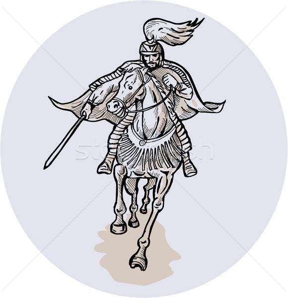 Samurai Warrior With Katana Sword Horseback Etching Stock photo © patrimonio
