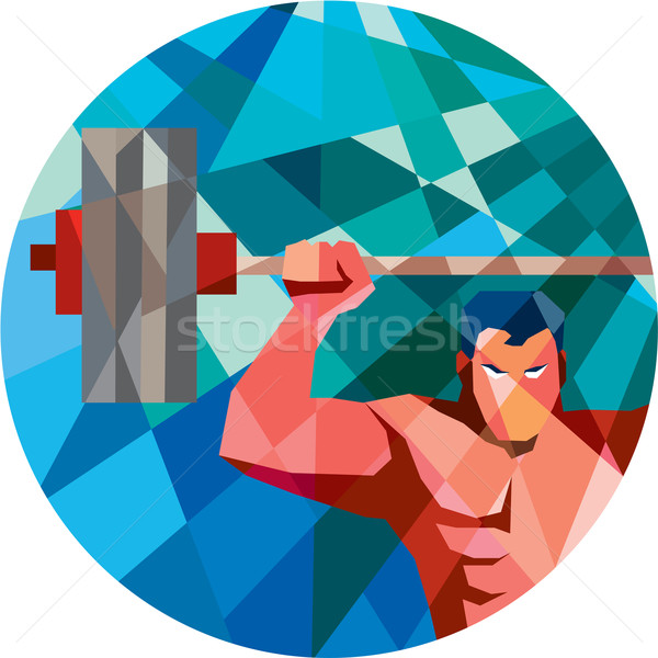 Weightlifter Snatch Grab Lifting Barbell Low Polygon Stock photo © patrimonio