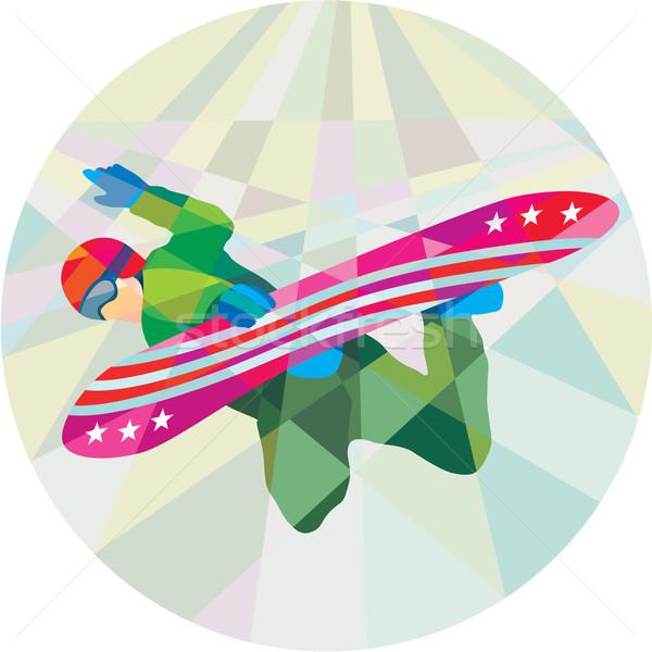 Snowboard atlama düşük çokgen stil Stok fotoğraf © patrimonio