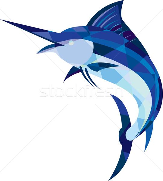 Mavi balık atlama düşük çokgen stil Stok fotoğraf © patrimonio