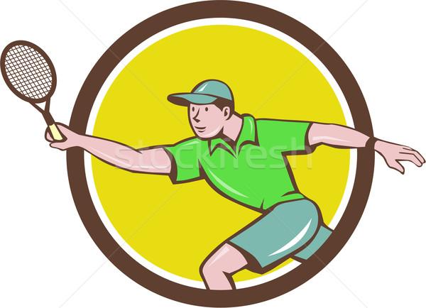 Tennis Player Racquet Forehand Circle Cartoon Stock photo © patrimonio