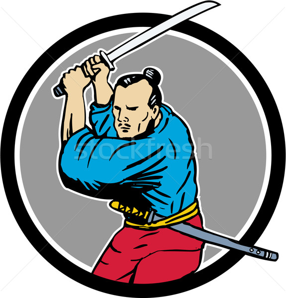 Samurai guerreiro espada círculo desenho esboço Foto stock © patrimonio