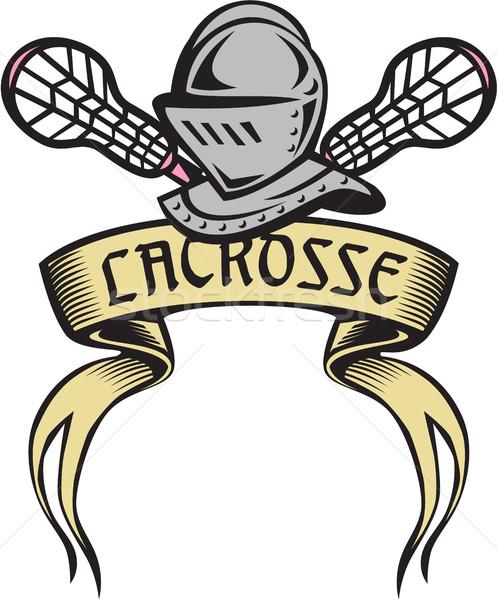 Knight Armor Lacrosse Stick Woodcut Stock photo © patrimonio