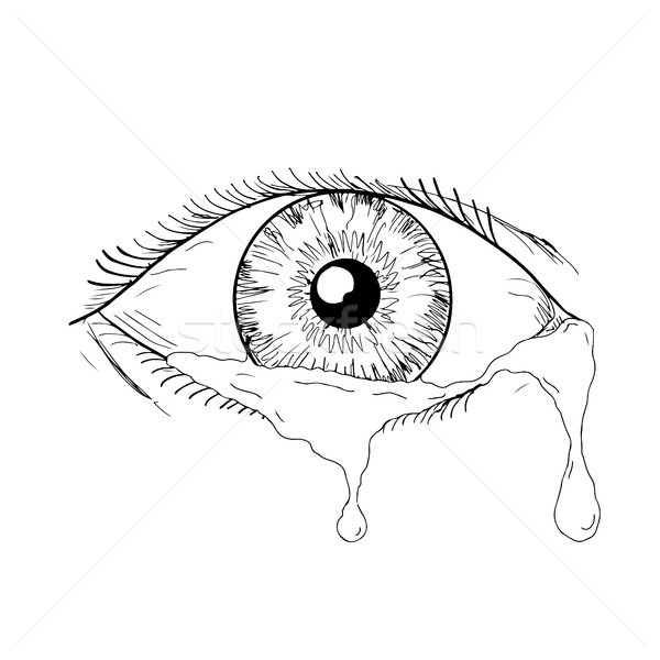 Human Eye Crying Tears Flowing Drawing Stock photo © patrimonio