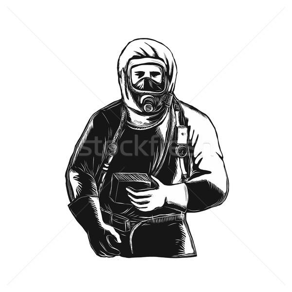 EMT Wearing Hazmat Suit Scratchboard  Stock photo © patrimonio