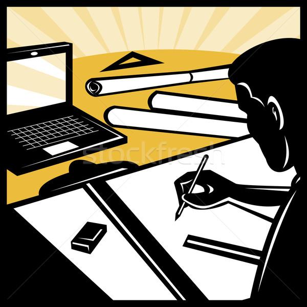 Arquitetônico desenho computador ilustração arquiteto prancheta Foto stock © patrimonio