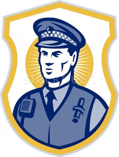 Security Guard Policeman Officer With Shield Stock photo © patrimonio