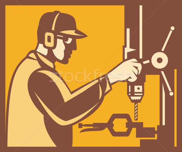 Stockfoto: Fabrieksarbeider · exploitant · boor · druk · retro · illustratie