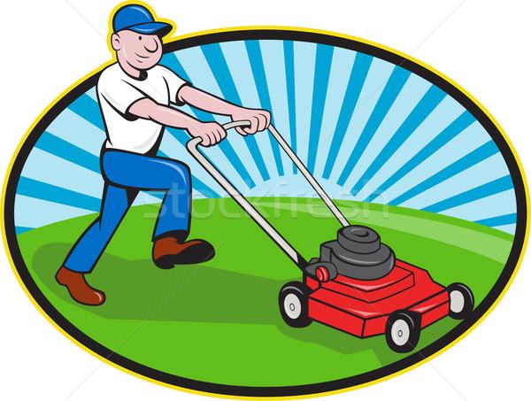 Lawn Mower Man Gardener Cartoon Stock photo © patrimonio