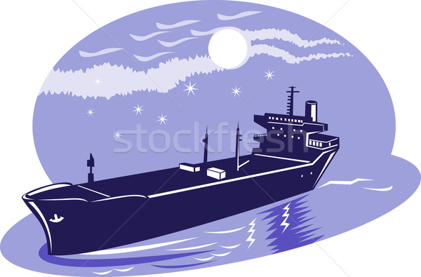 Сток-фото: контейнера · грузовое · судно · иллюстрация · ретро-стиле · океана