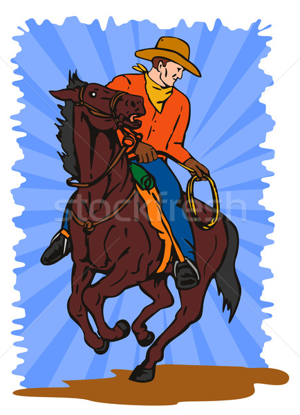 Cowboy on Horse with Lasso Stock photo © patrimonio