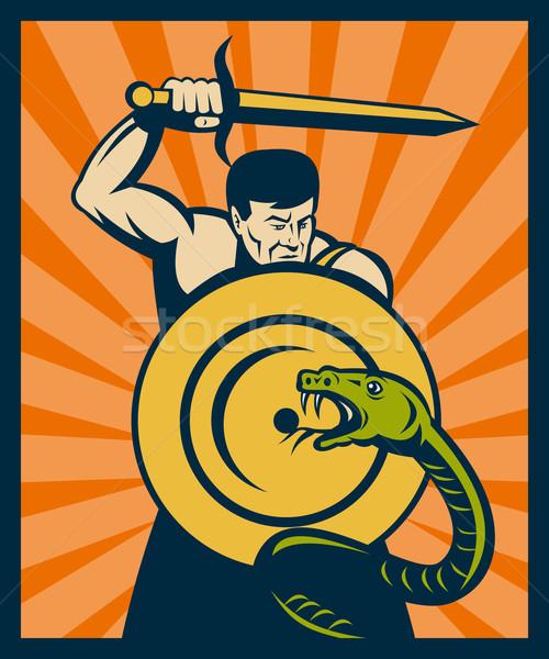 Guerriero spada scudo serpente serpente illustrazione Foto d'archivio © patrimonio