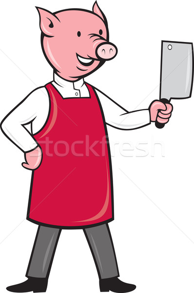 pig butcher holding meat cleaver knife Stock photo © patrimonio