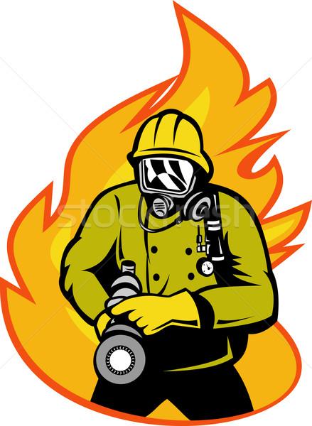 пожарный пожарный огня иллюстрация человека Сток-фото © patrimonio