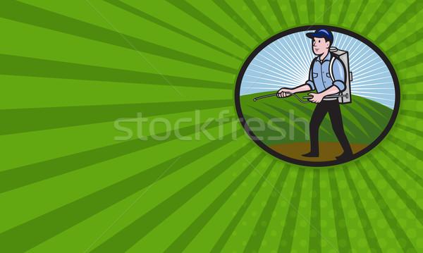 удобрение насос Cartoon иллюстрация работник Сток-фото © patrimonio
