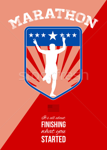 Maraton runner zakończyć uruchomić plakat kartkę z życzeniami Zdjęcia stock © patrimonio