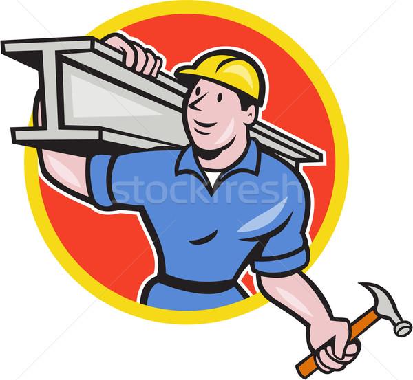 Construction Steel Worker Carry I-Beam Circle Cartoon Stock photo © patrimonio