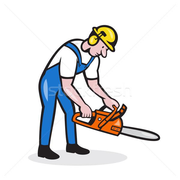 Lumberjack Arborist Operating Chainsaw Cartoon Stock photo © patrimonio