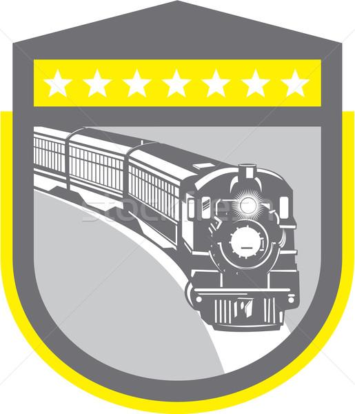 Stoom trein locomotief retro schild illustratie Stockfoto © patrimonio