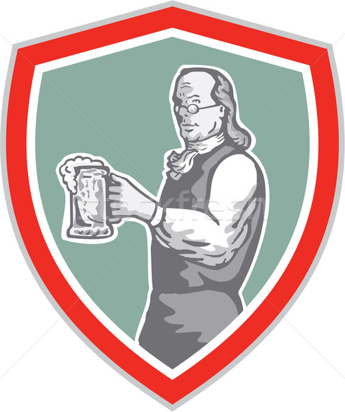 Benjamin Franklin Holding Beer Shield Retro Stock photo © patrimonio