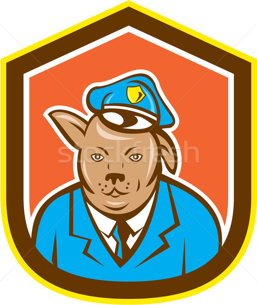 Police Dog Canine Shield Cartoon Stock photo © patrimonio
