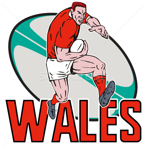 Welsh  Rugby player running ball Wales Stock photo © patrimonio