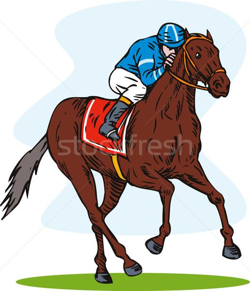 жокей лошади вид сбоку иллюстрация белый ретро-стиле Сток-фото © patrimonio