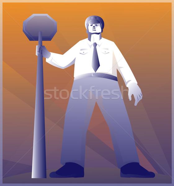 Policeman Standing With Stop Sign Retro Stock photo © patrimonio
