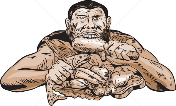 Neanderthal Man Eating Paleo Diet Etching Stock photo © patrimonio