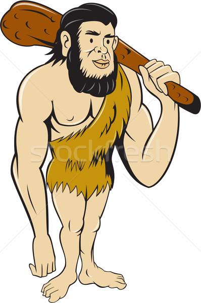 Caveman Neanderthal Man Holding Club Cartoon Stock photo © patrimonio