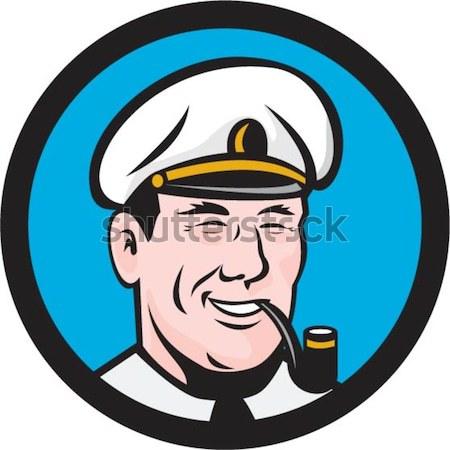 Sea Captain Pipe Smoke Circle Black and White Stock photo © patrimonio