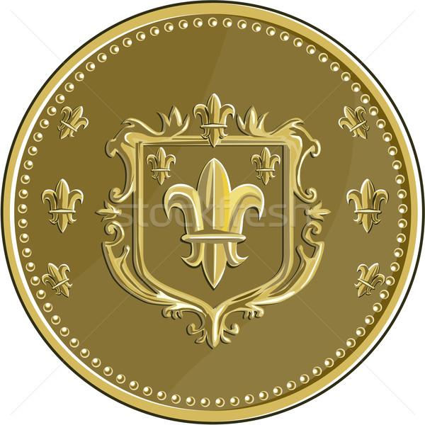Fleur de lis Coat of Arms Gold Medal Retro Stock photo © patrimonio
