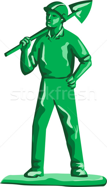 Green Miner Holding Shovel Retro Stock photo © patrimonio