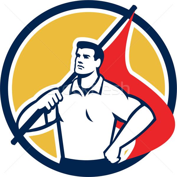 Union Worker Holding Flag Circle Retro Stock photo © patrimonio
