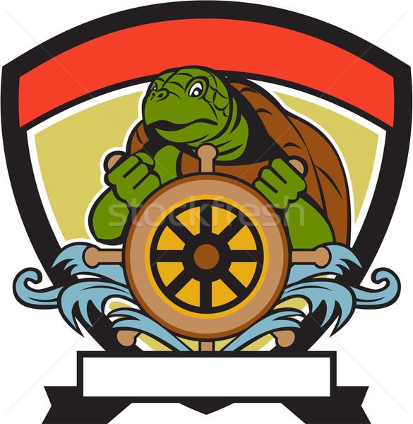 Ridley Turtle At Helm Crest Retro Stock photo © patrimonio