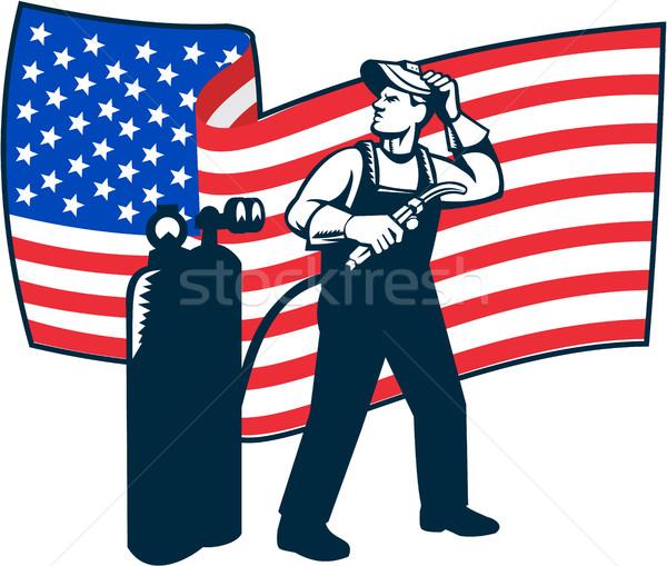 Hegesztő áll felfelé USA zászló hullámos Stock fotó © patrimonio