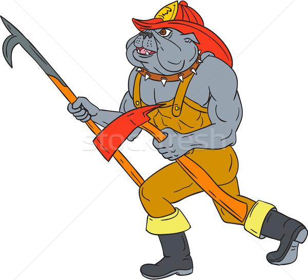 Bulldog bombero polo fuego hacha dibujo Foto stock © patrimonio