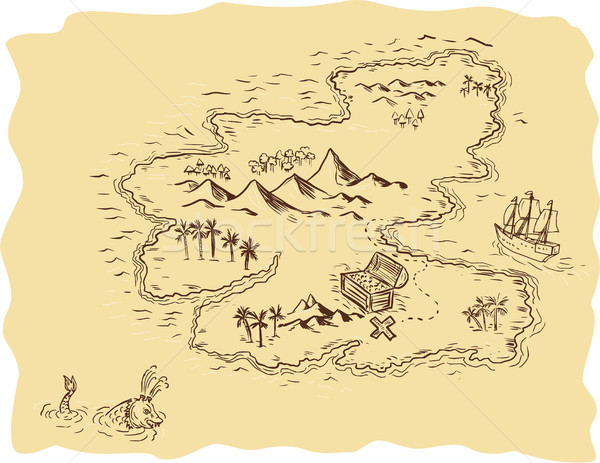 Pirackich treasure map żaglowiec rysunek szkic stylu Zdjęcia stock © patrimonio