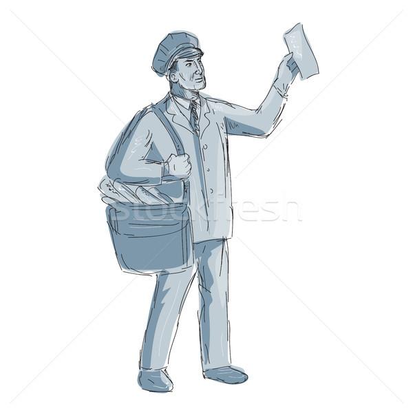 Jahrgang Briefträger Schreiben Zeichnung Illustration Stock foto © patrimonio