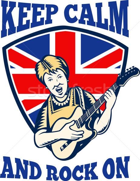 Keep Calm Rock On British Flag Queen Granny Guitar Stock photo © patrimonio