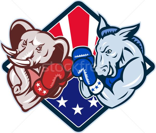 Demokrat eşek cumhuriyetçi fil maskot boks Stok fotoğraf © patrimonio