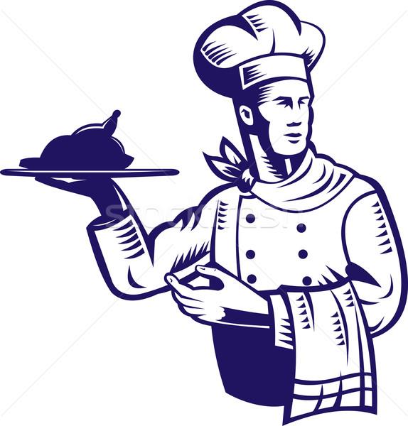 Kucharz gotować pieczony kurczak ilustracja retro stylu Zdjęcia stock © patrimonio