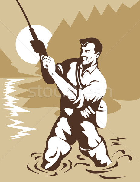 fisherman with rod and reel Stock photo © patrimonio