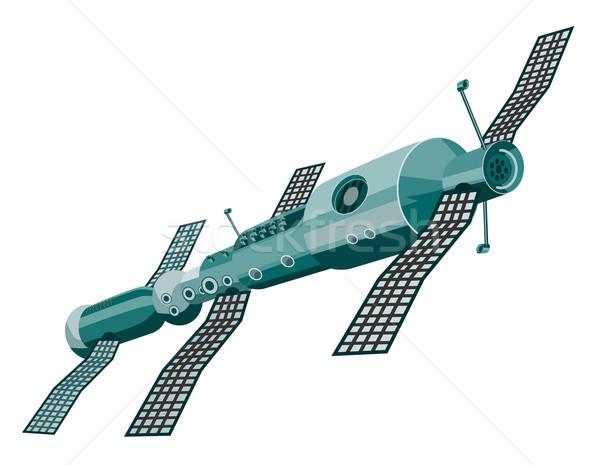 衛星 実例 孤立した 白 レトロスタイル ストックフォト © patrimonio