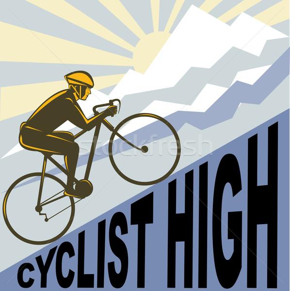 велосипедист Racing велосипедов вверх крутой горные Сток-фото © patrimonio