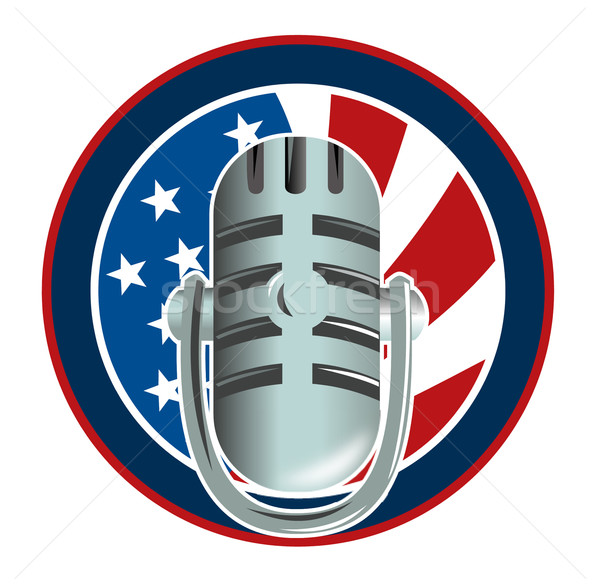 Microphone with american stars and stripes flag Stock photo © patrimonio