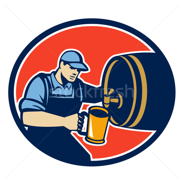 Brewer Bartender Pour Beer Pitcher Barrel Retro Stock photo © patrimonio