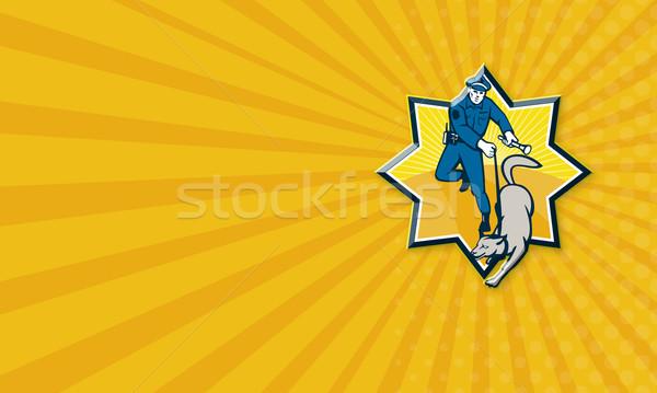 Policeman Police Dog Canine Team Stock photo © patrimonio