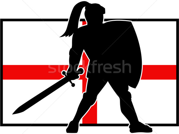 Stock photo: English Knight Shield Sword England Flag Retro