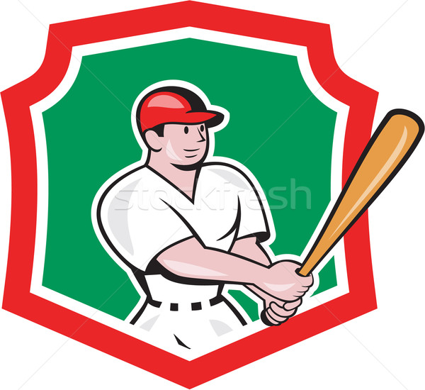 бейсболиста гребень Cartoon иллюстрация американский Bat Сток-фото © patrimonio